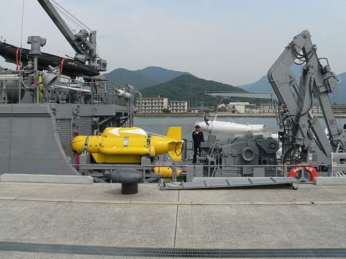 掃海艇搭載の機雷処分具航走体(黄色物)
